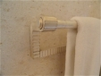 Custom fabricated, milled, silver plated, white gold gilded, towel bar.